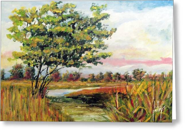 Crepe Myrtle In The Wetlands Greeting Card by Jim Phillips