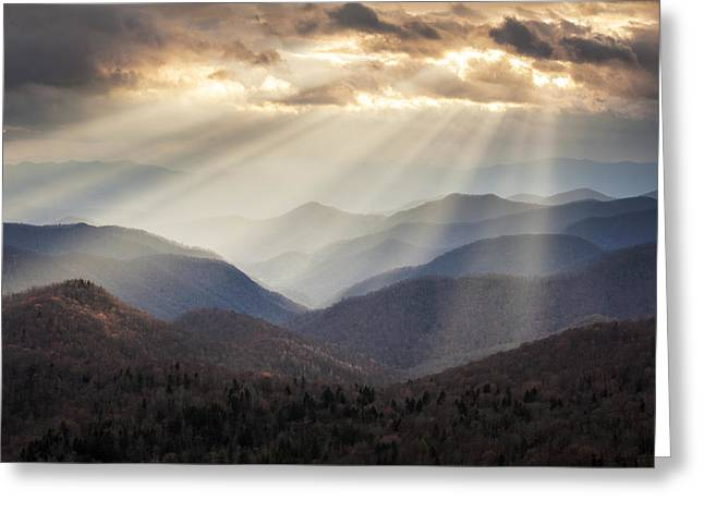 Crepuscular Light Rays On Blue Ridge Parkway - Rays And Ridges Greeting Card