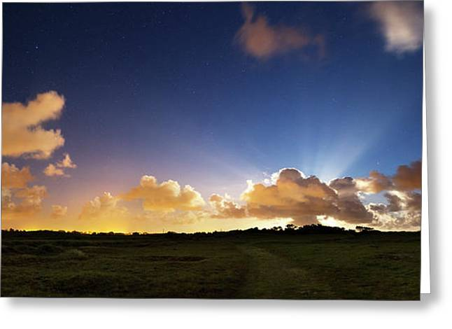 Crepuscular Rays At Moonrise Greeting Card by Laurent Laveder