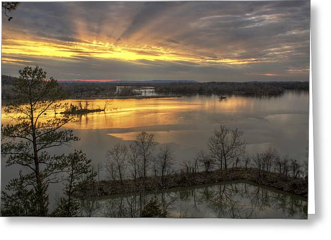 Crepuscular Rays From Cadron Overlook Greeting Card by Jason Politte