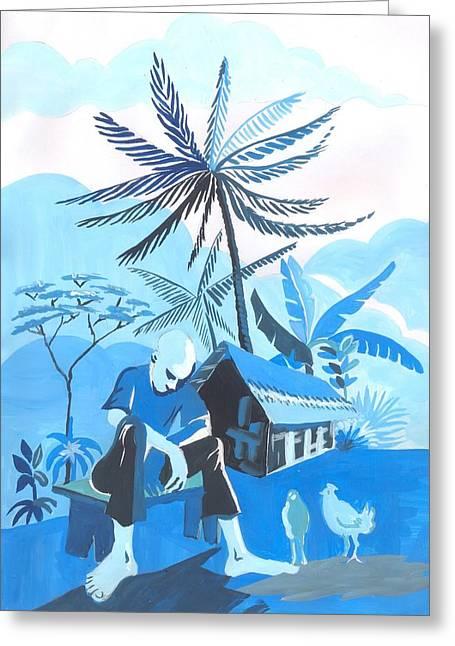 Crepuscule De Ma Cambuse Greeting Card by Emmanuel Baliyanga