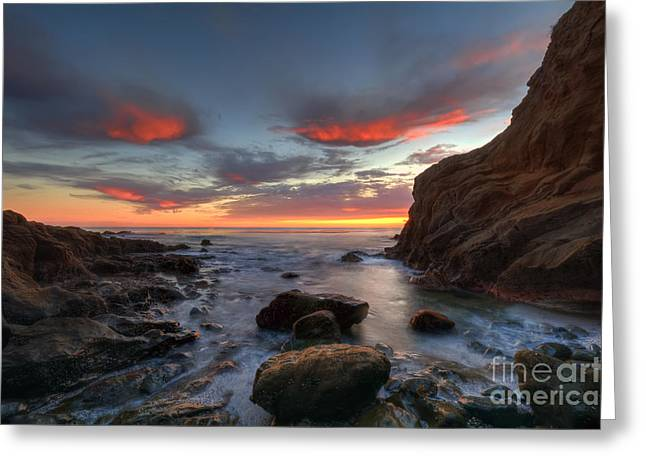 Crescent Bay Cove At Dusk Greeting Card by Eddie Yerkish