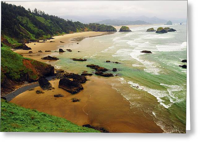 Crescent Beach From Ecola State Park Greeting Card by Michel Hersen