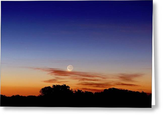 Crescent Moon And Jupiter Greeting Card by Luis Argerich