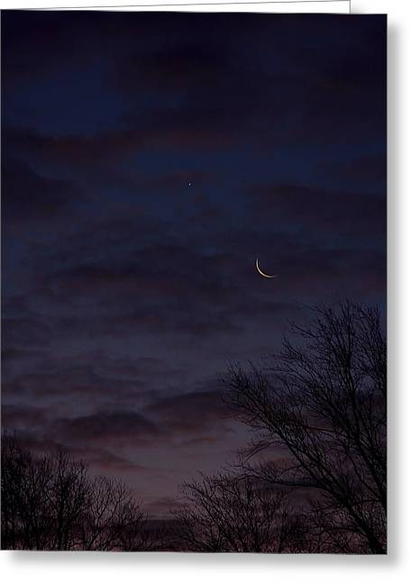 Crescent Moon And Venus Rising Greeting Card