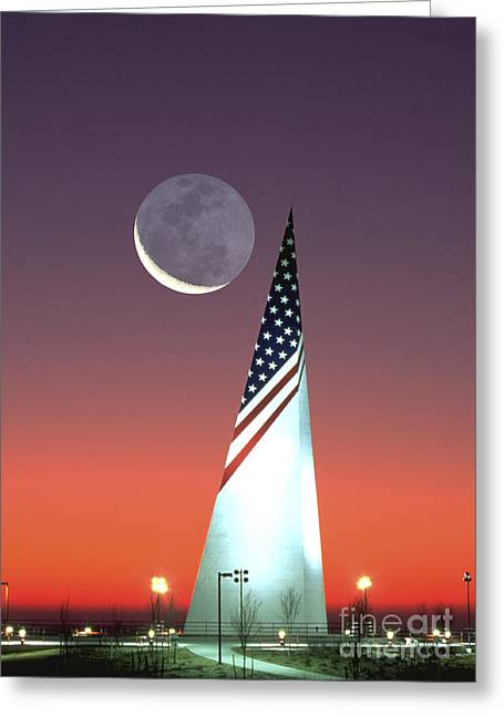 Crescent Moon At Bald Hill Ny Greeting Card by Larry Landolfi