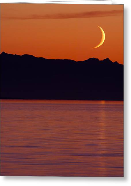 Crescent Moon Greeting Card by Jim Lundgren