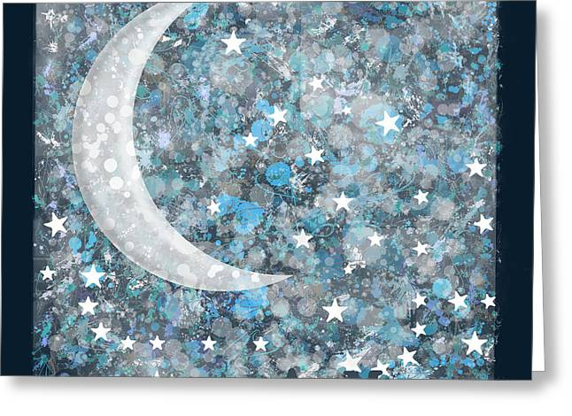 Crescent Moon Greeting Card by Marion De Lauzun