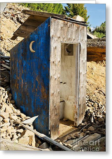 Greeting Card featuring the photograph Crescent Moon Outhouse by Sue Smith
