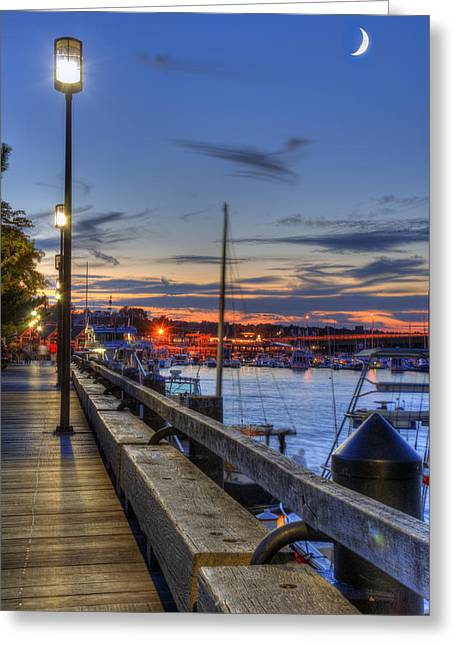 Crescent Moon Over Newburyport Harbor Greeting Card
