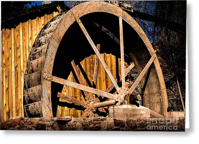 Old Building And Water Wheel Greeting Card