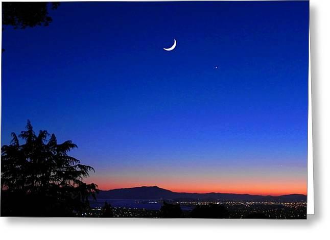 Crescent Moon San Francisco Bay Greeting Card