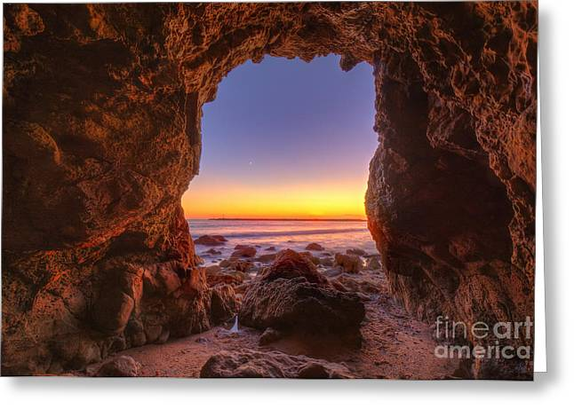 Crescent Moon Setting In Newport Beach Greeting Card