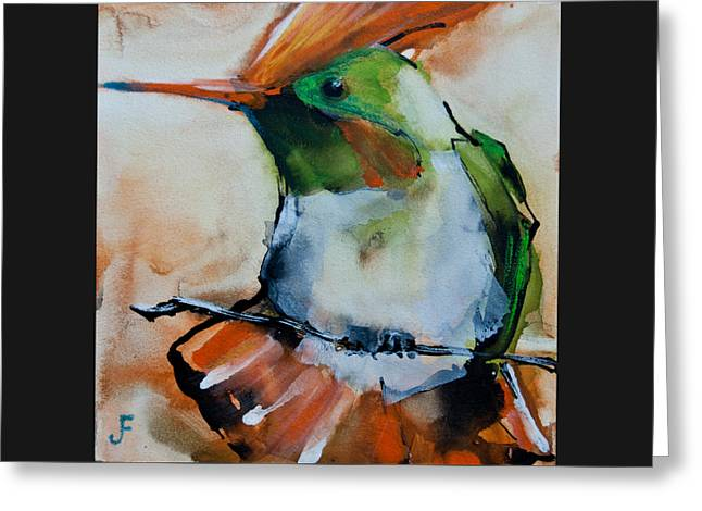 Crested Croquette Hummingbird Greeting Card