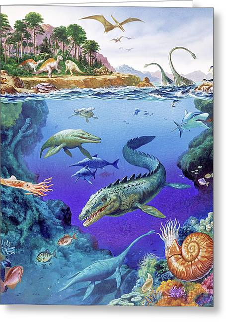 Cretaceous Period Fauna Greeting Card by Christian Jegou Publiphoto Diffusion/ Science Photo Library