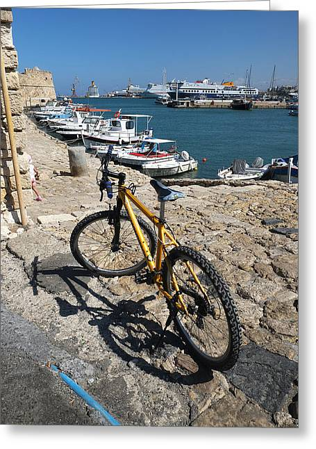 Crete Bicycle Greeting Card by John Jacquemain