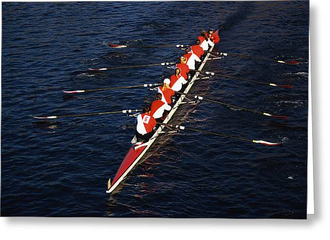 Crew Boat At Head Of Charles Regatta Greeting Card by Panoramic Images