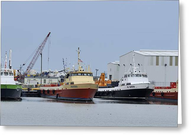 Crew Boats At Port Fourchon Greeting Card