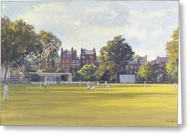 Cricket At Burton Court Oil On Canvas Greeting Card by Julian Barrow