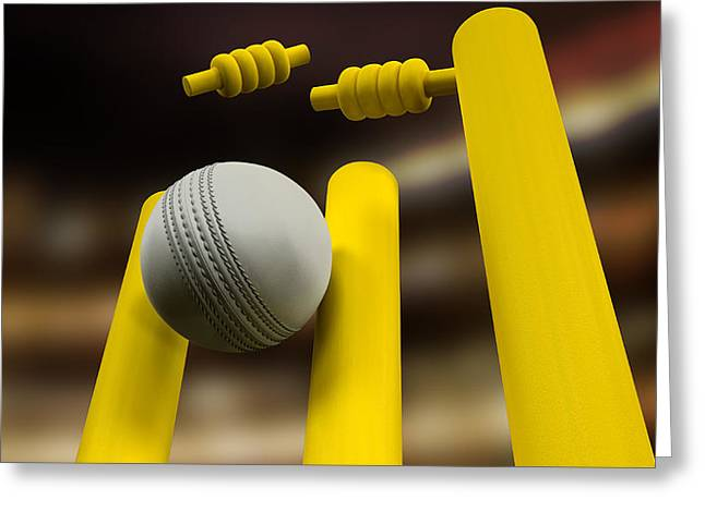 Cricket Ball Hitting Wickets Night Greeting Card by Allan Swart