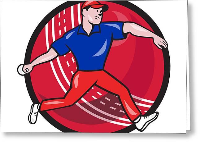 Cricket Bowler Bowling Ball Cartoon Greeting Card by Aloysius Patrimonio