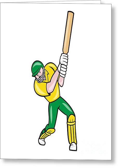 Cricket Player Batsman Batting Front Cartoon Isolated Greeting Card by Aloysius Patrimonio
