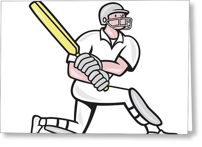 Cricket Player Batsman Batting Kneel Cartoon Greeting Card