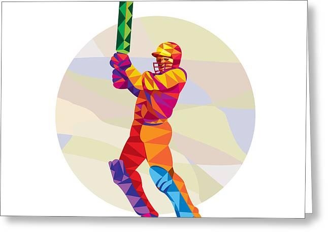 Cricket Player Batsman Batting Low Polygon Greeting Card