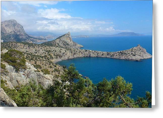Crimean Black Sea Panorama Greeting Card by Lana Smith