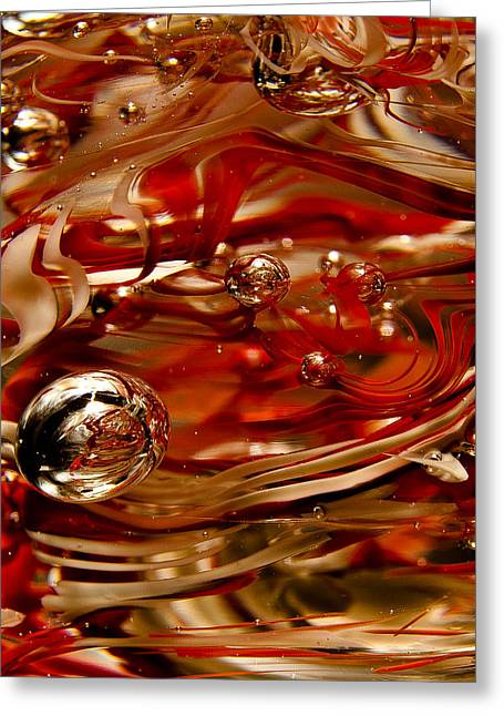 Crimson And Gray Glass Macro Ws6 Greeting Card by David Patterson