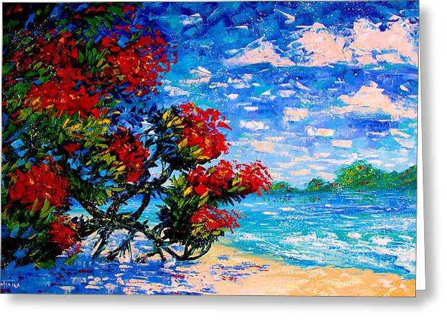 Crimson Bloom Red Flower Tree At The Beach Blue Sky Landscape Greeting Card