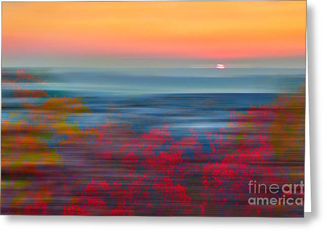Crimson Dawn - A Tranquil Moments Landscape Greeting Card by Dan Carmichael