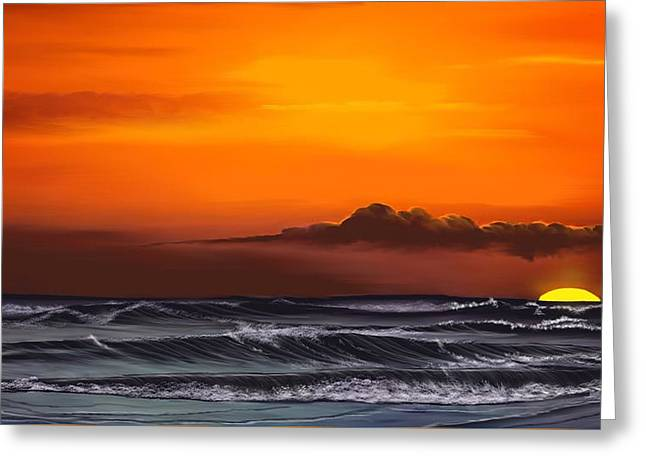Crimson Sunset Greeting Card by Anthony Fishburne