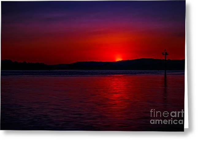 Crimson Sunset Greeting Card by Larry McMahon