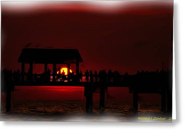 Greeting Card featuring the digital art Crimson Sunset Painting by Richard Zentner