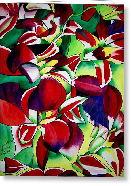 Crimson Tropical Singapore Orchids Greeting Card by Sacha Grossel