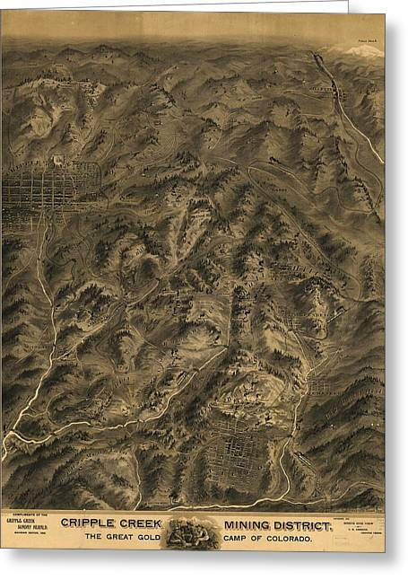 Antique Map - Cripple Creek Mining District Birdseye Map - 1895 Greeting Card