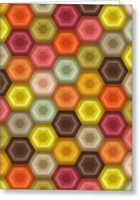 Crochet Honeycomb Retro Greeting Card by Sharon Turner