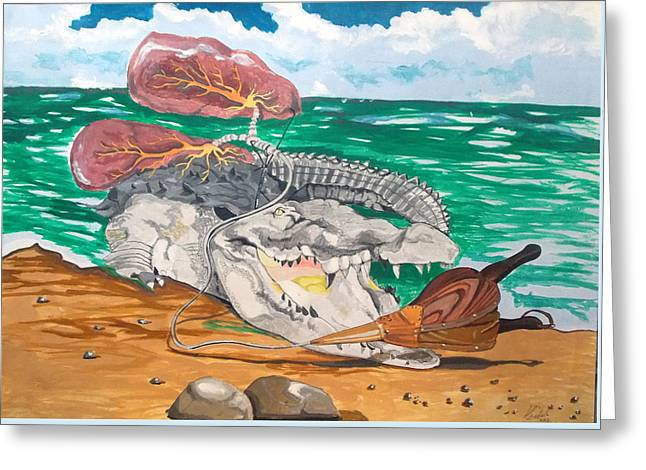 Greeting Card featuring the painting Crocodile Emphysema by Lazaro Hurtado