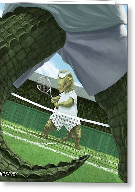 Crocodiles Playing Tennis At Wimbledon  Greeting Card by Martin Davey