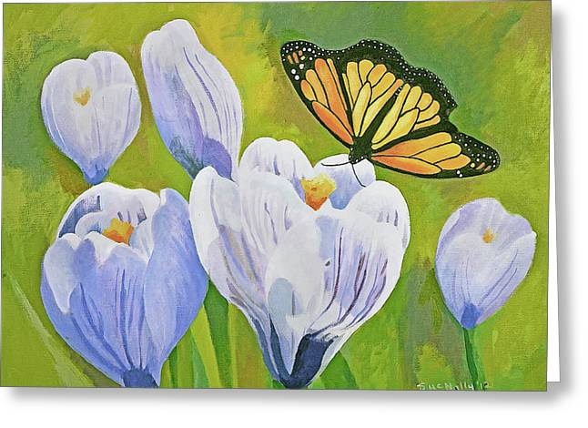 Crocus And Monarch Butterfly Greeting Card