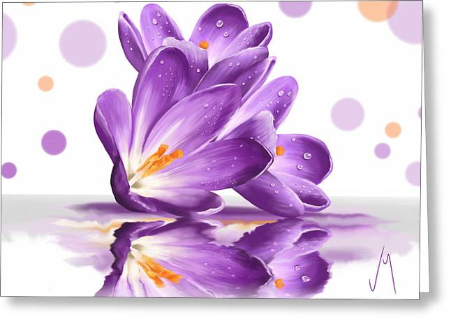 Crocus Greeting Card by Veronica Minozzi