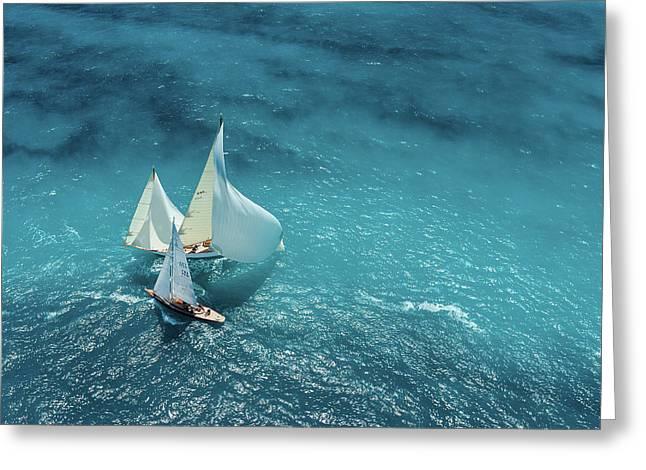 Croisement Bleu Greeting Card by Marc Pelissier
