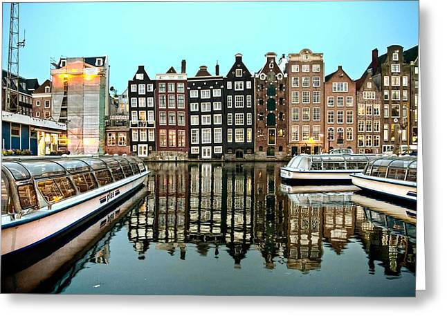 Crooked Houses On The Canal Greeting Card by Brent Durken