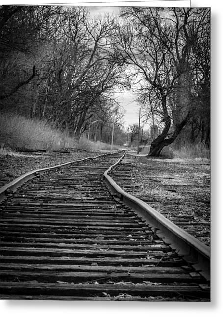 Crooked Tracks Greeting Card by Alexey Stiop