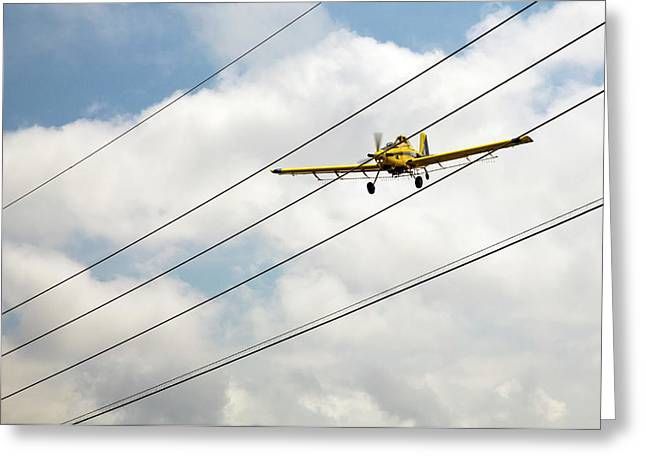 Crop Duster And Electricity Power Lines Greeting Card