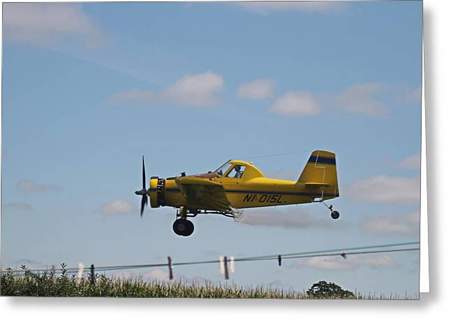 Crop Dusting Greeting Card by Victoria Sheldon
