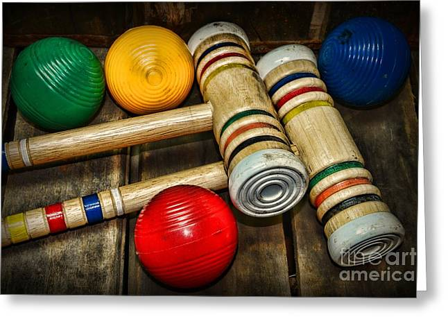 Croquet Family Fun Game Greeting Card by Paul Ward