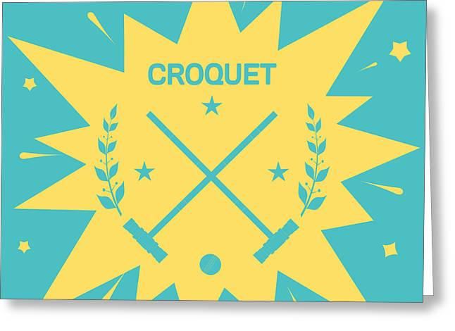 Croquet. Vintage Background With Clubs Greeting Card