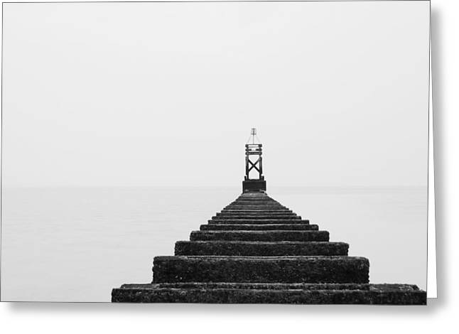 Crosby Beach Black And White Greeting Card by Phillip Orr